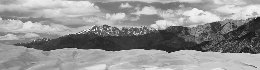 Great Sand Dunes Panorama 1 Bw Photograph