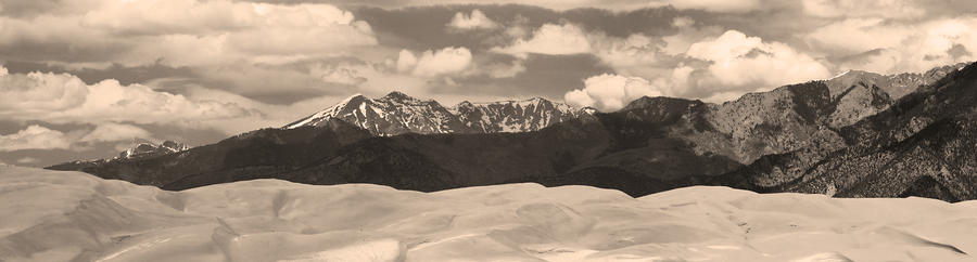 Great Sand Dunes Panorama 1 Sepia Photograph  - Great Sand Dunes Panorama 1 Sepia Fine Art Print