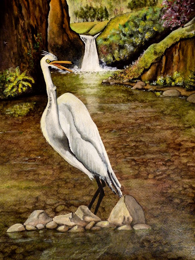 Great white egret painting by bob arata for White heron paint