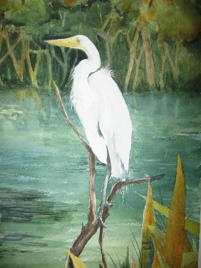 Great white egret painting by marilyn clement for White heron paint