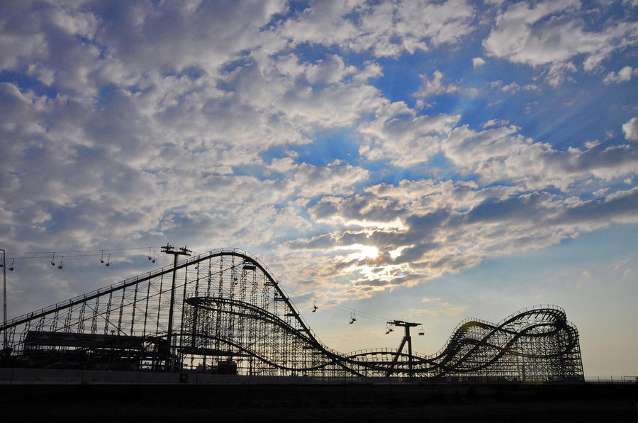 Great White Roller Coaster - Adventure Pier Wildwood Nj At Sunrise Photograph  - Great White Roller Coaster - Adventure Pier Wildwood Nj At Sunrise Fine Art Print