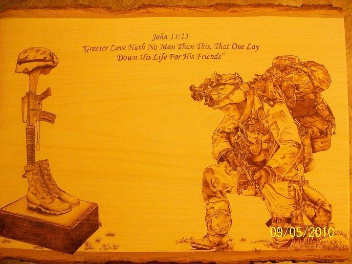 Fallen Soldier Marine Airman Patriotic  Pyrography - Greater Love by Rodney Balderas