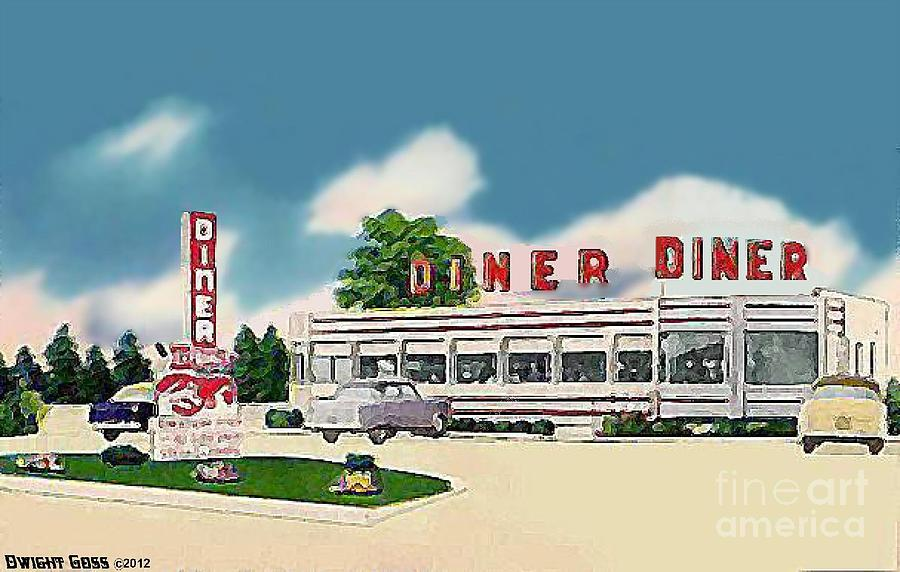 Greatway diner in cardiff n j 1950 39 s painting by dwight goss for Diner painting