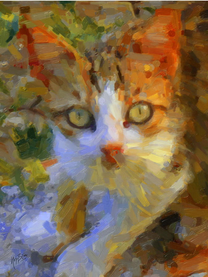 Greek Cat Painting  - Greek Cat Fine Art Print