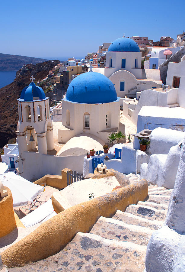Santorini Photograph - Greek Churches And Steps by Paul Cowan