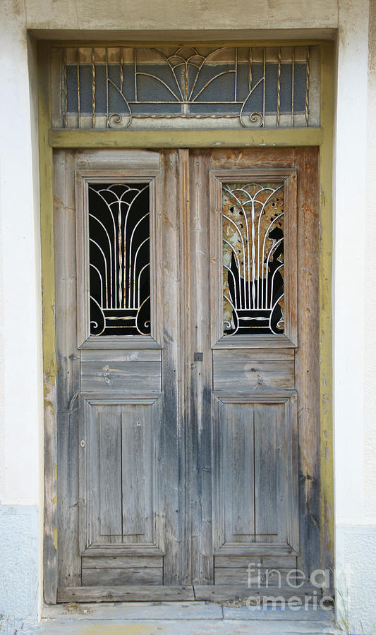 Greek Door With Wrought Iron Window Photograph  - Greek Door With Wrought Iron Window Fine Art Print