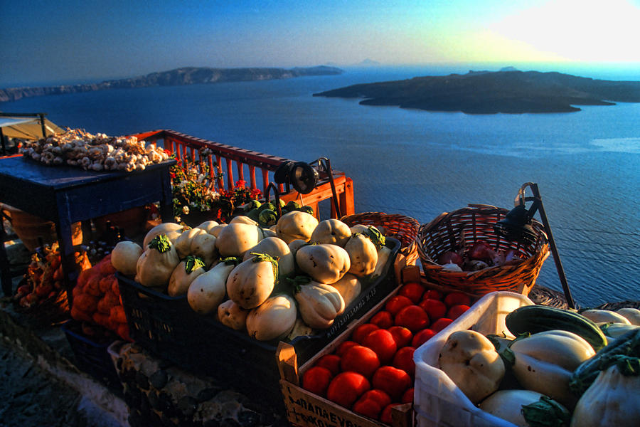 Greek Food At Santorini Photograph  - Greek Food At Santorini Fine Art Print