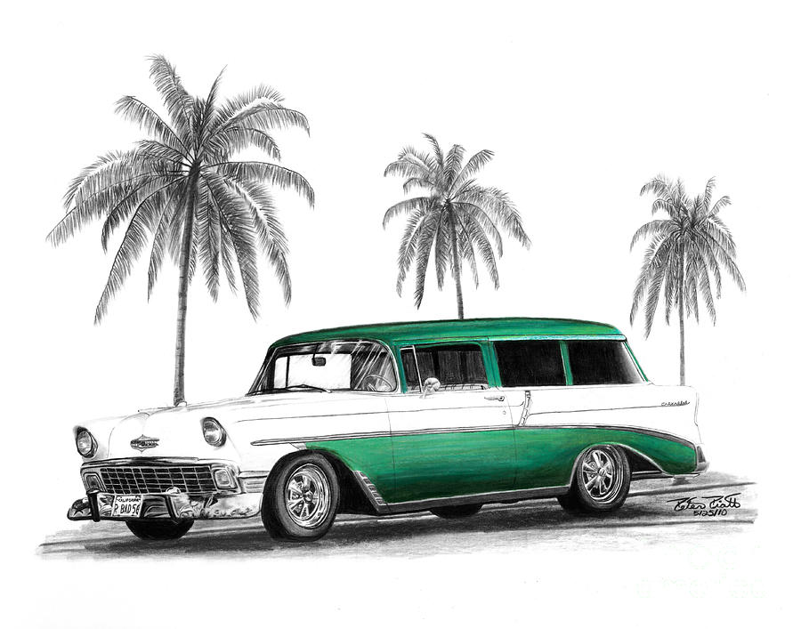 Green 56 Chevy Wagon Drawing  - Green 56 Chevy Wagon Fine Art Print