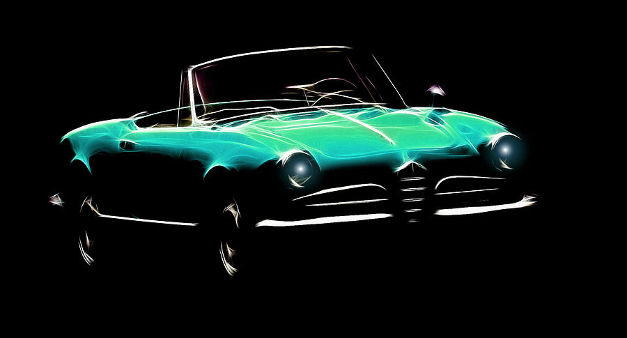 Alfa Romeo Spider Giulia 1600 Car Oldtimer Digital Painting Black White Expressionism Impressionism Motor Sport Sports  Digital Art - Green Alfa Romeo Giulia Spider by Stefan Kuhn