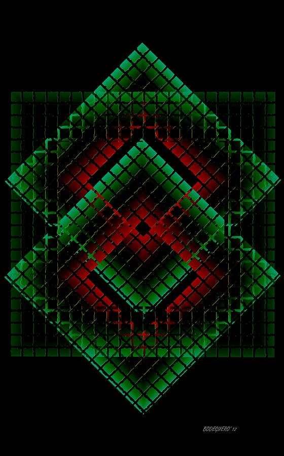 Green And Red Geometric Design Digital Art