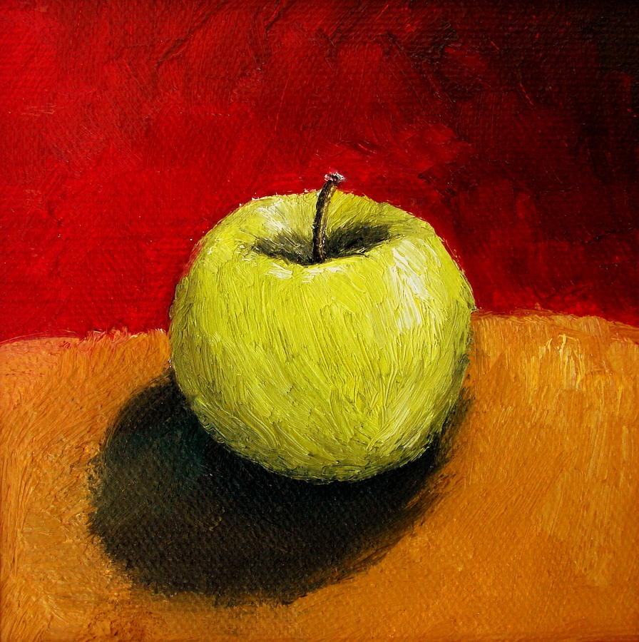 Green Apple With Red And Gold Painting  - Green Apple With Red And Gold Fine Art Print