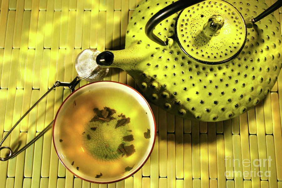 Green Asian Teapot With Cup  Photograph  - Green Asian Teapot With Cup  Fine Art Print