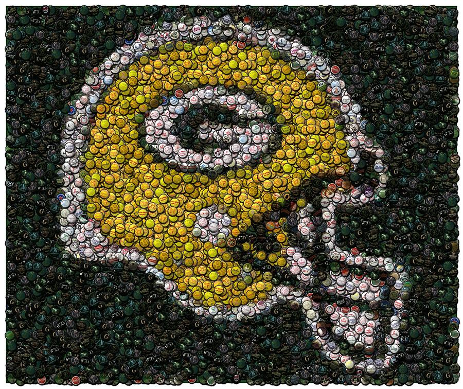 Green Bay Packers Bottle Cap Mosaic Digital Art  - Green Bay Packers Bottle Cap Mosaic Fine Art Print