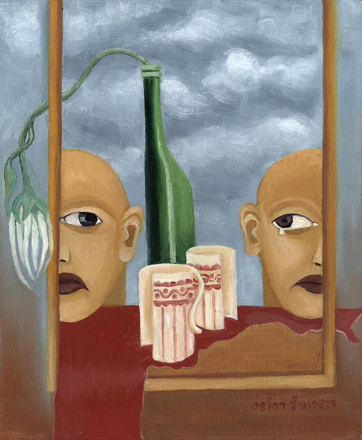 Green Painting - Green Bottle Agony Surrealistic Artwork With Crying Heads Cut Cups Flowing Red Wine Or Blood Frame   by Rachel Hershkovitz