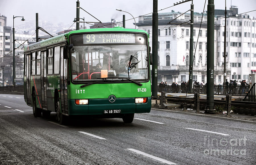 Green Bus On The Galata Photograph