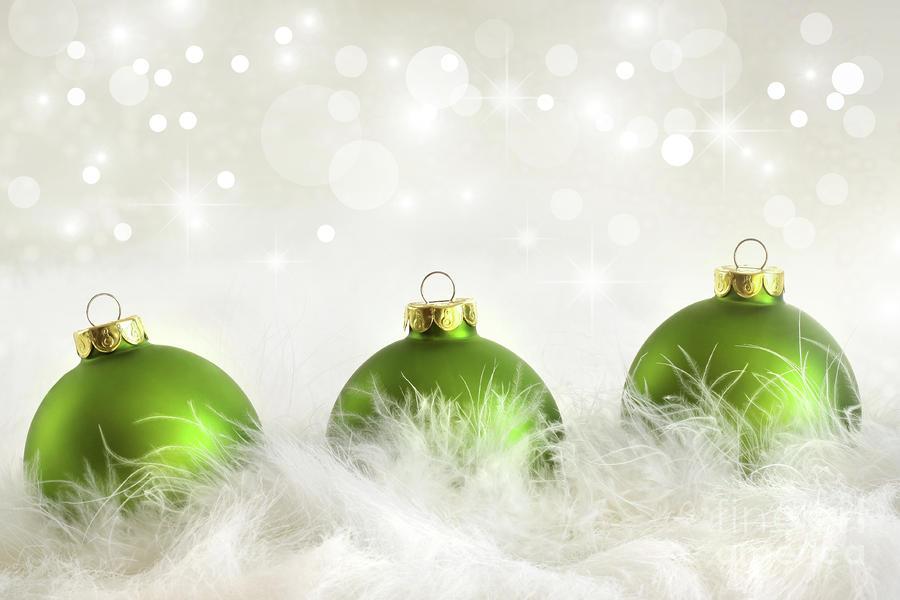 Green christmas balls photograph by sandra cunningham