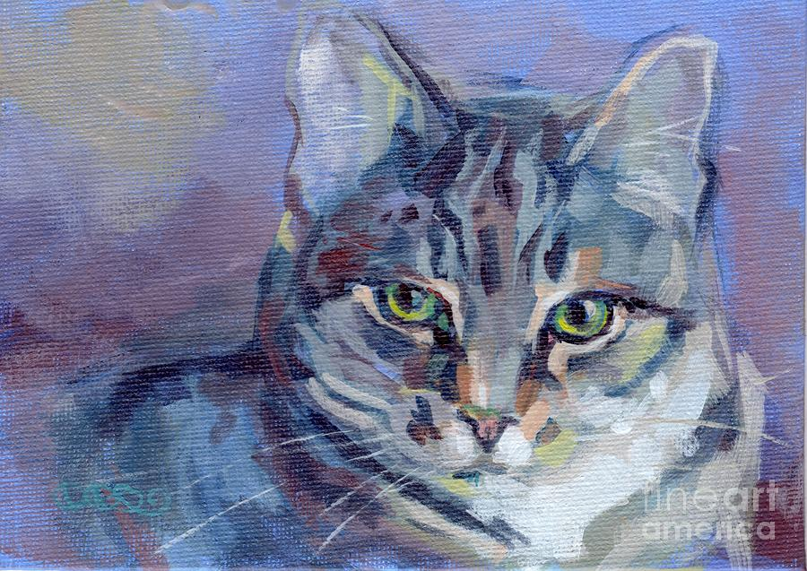 Green Eyed Tabby - Thomasina Painting  - Green Eyed Tabby - Thomasina Fine Art Print