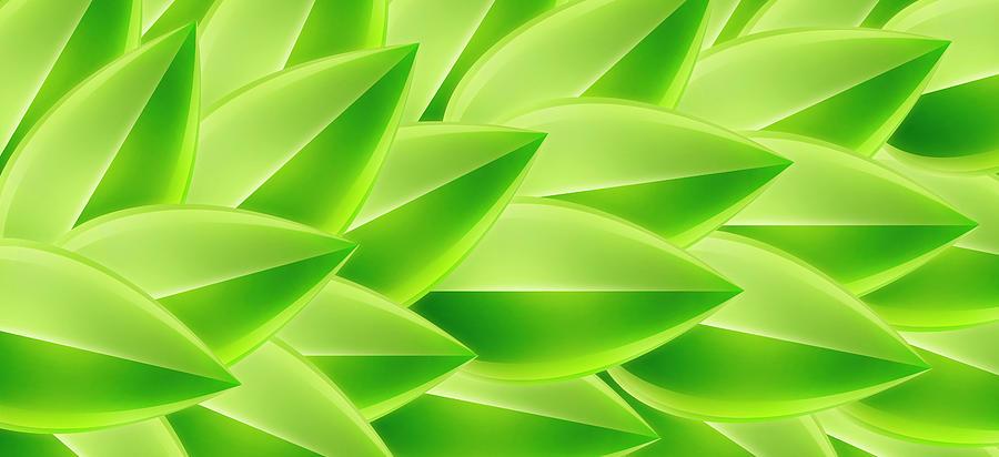 Horizontal Digital Art - Green Feathers, Full Frame by Ralf Hiemisch