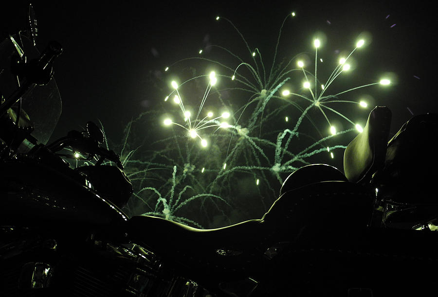Firework Display.  Foreground A Harley Davidson Mortorcycle Photograph - Green Fireworks Over A Soft Tail by Tobey Brinkmann