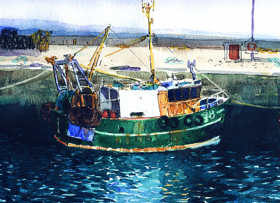 Green fishing boat scotland painting by myra gallicker for Fishing boat painting