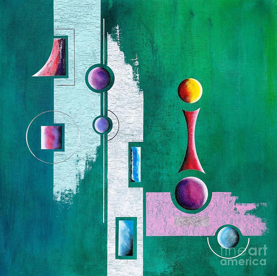 Green Geometrical Play Painting  - Green Geometrical Play Fine Art Print