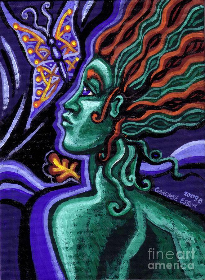 Green Goddess With Butterfly Painting  - Green Goddess With Butterfly Fine Art Print