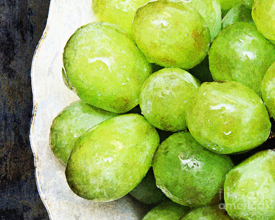 Green Grapes On A Plate Photograph  - Green Grapes On A Plate Fine Art Print