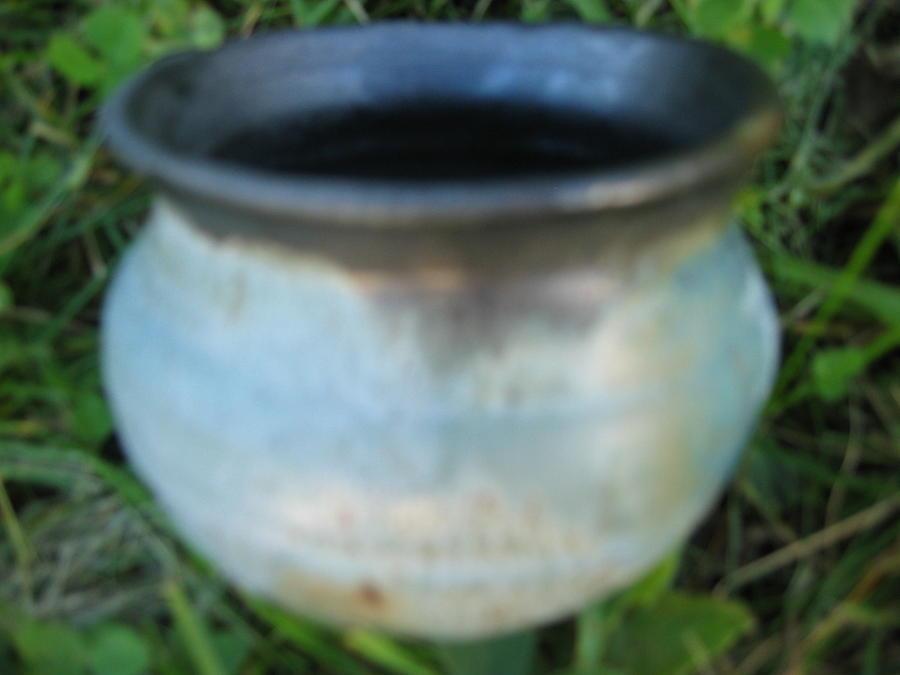 Green Jar With Black Rim Ceramic Art
