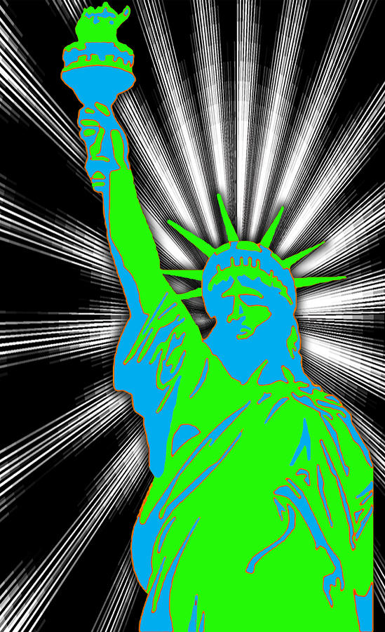 Green Liberty Mixed Media  - Green Liberty Fine Art Print