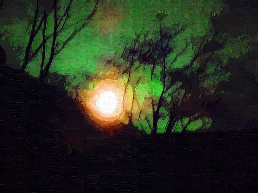 Green Moonscape Mixed Media  - Green Moonscape Fine Art Print