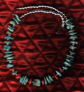 Green Nevada Turquoise And Coral Choker Jewelry