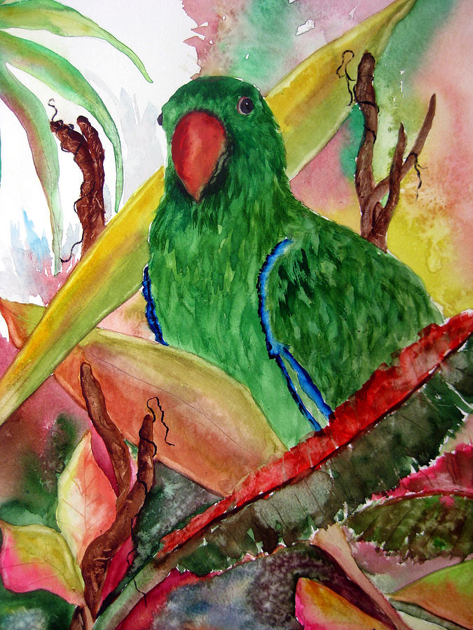 Green parrot painting - photo#2