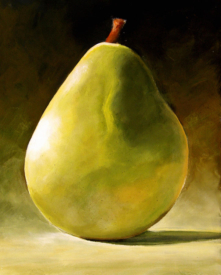 Green Pear Painting  - Green Pear Fine Art Print