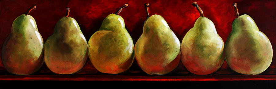 Green Pears On Red Painting