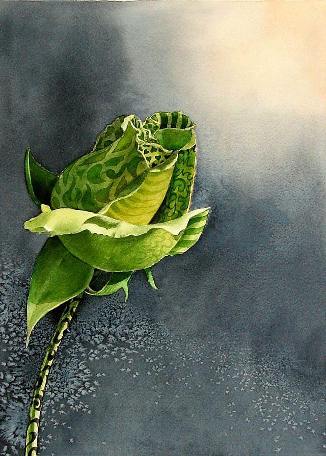 Green Rosebud Painting