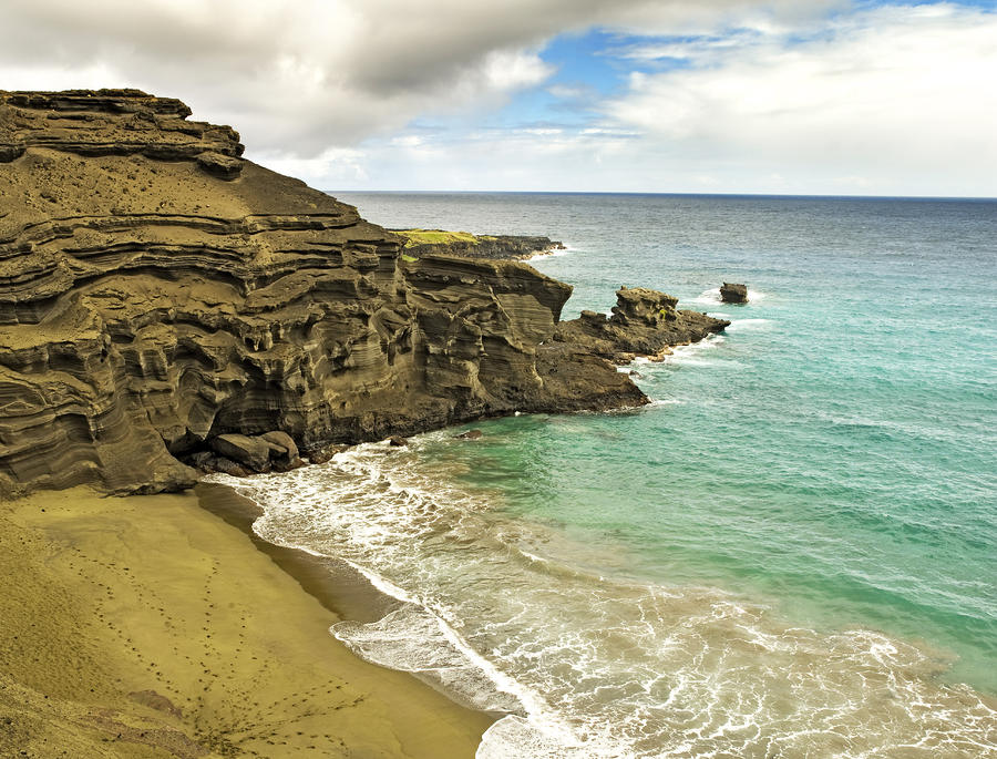 Green Sand Beach On Hawaii Photograph
