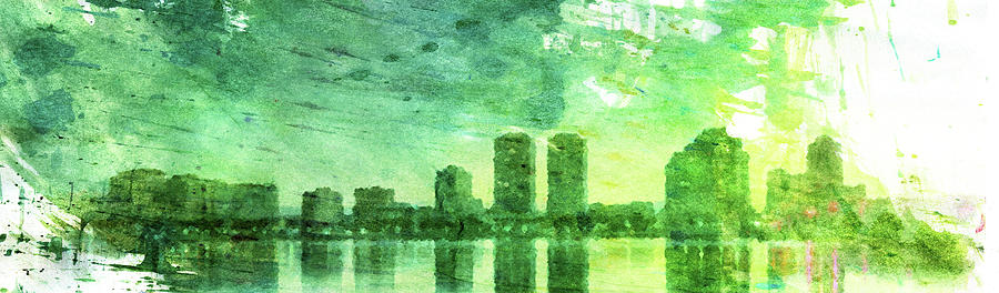 Green Skyline Digital Art  - Green Skyline Fine Art Print