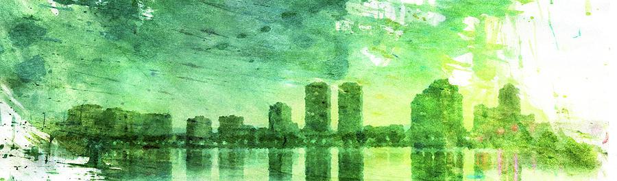 Green Digital Art - Green Skyline by Andrea Barbieri