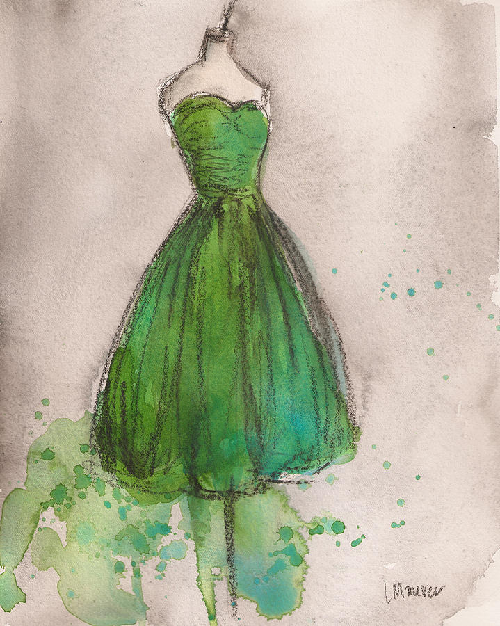 Green Strapless Dress Painting  - Green Strapless Dress Fine Art Print