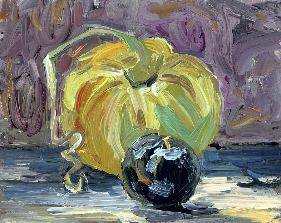 Green Tomato And Plum Painting  - Green Tomato And Plum Fine Art Print