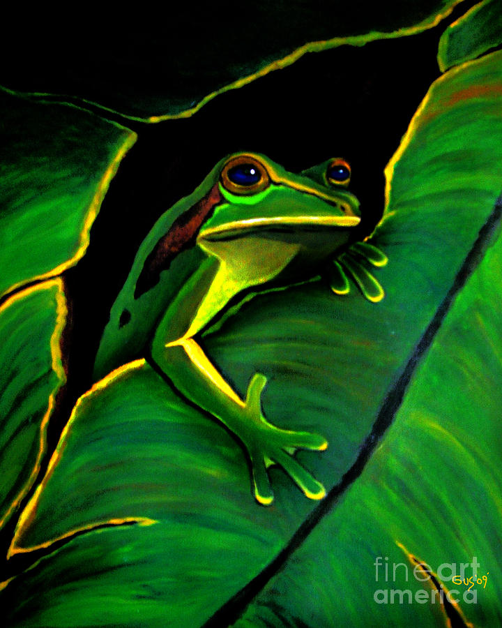 Green Tree Frog And Leaf Painting