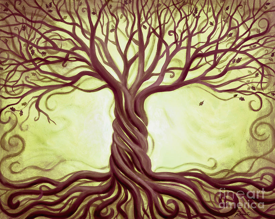Green Tree Of Life Painting