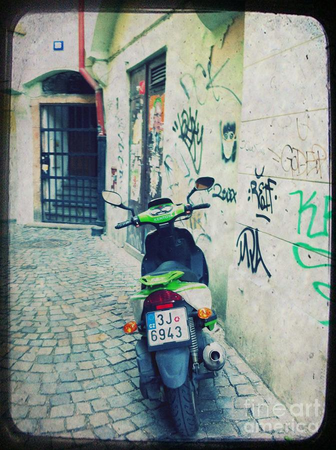 Green Vespa In Prague Mixed Media  - Green Vespa In Prague Fine Art Print