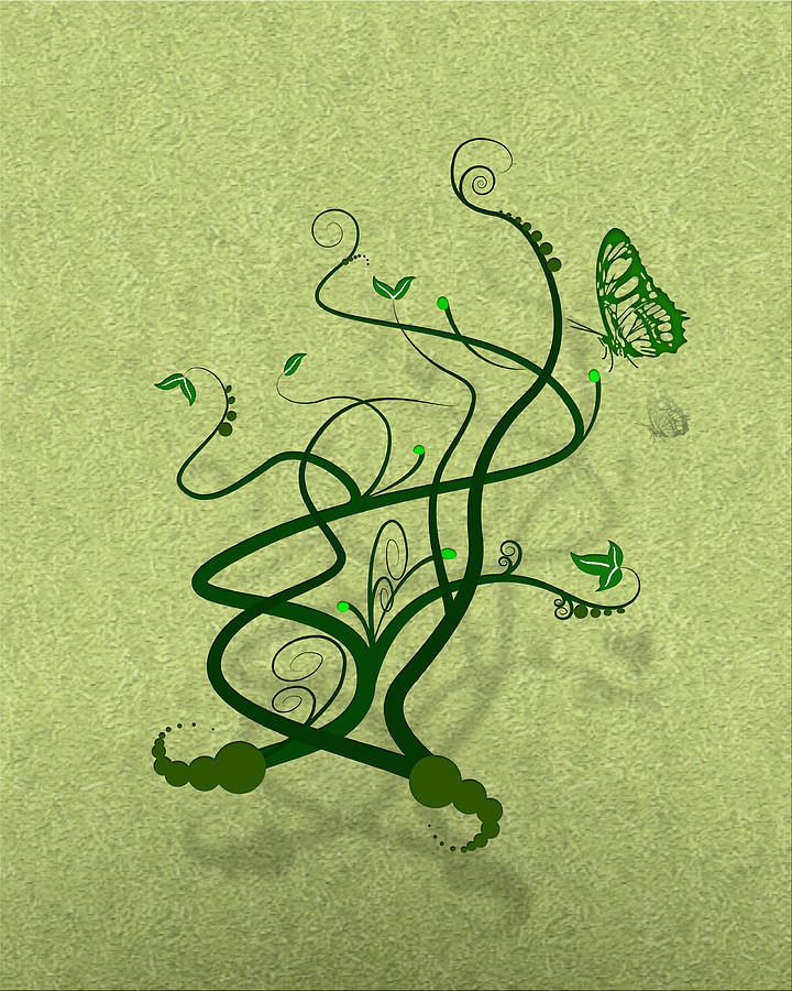 Green Vine And Butterfly Digital Art  - Green Vine And Butterfly Fine Art Print