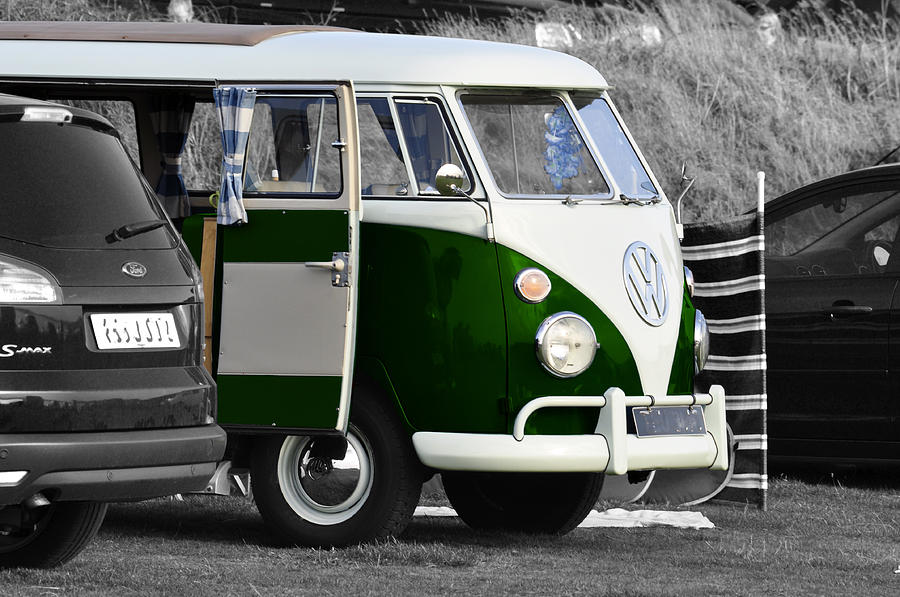 Green Vw Camper Photograph