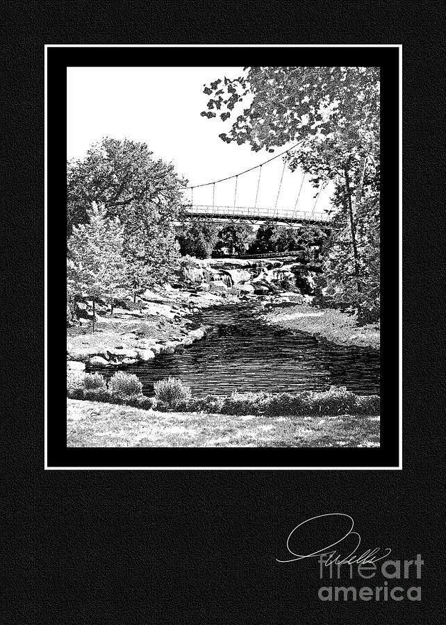Greeting Card - Liberty Bridge At Falls Park - Architectural Renderings Mixed Media