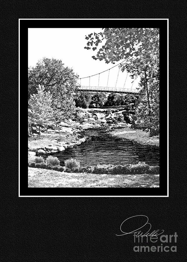 Greeting Card - Liberty Bridge At Falls Park - Architectural Renderings Mixed Media