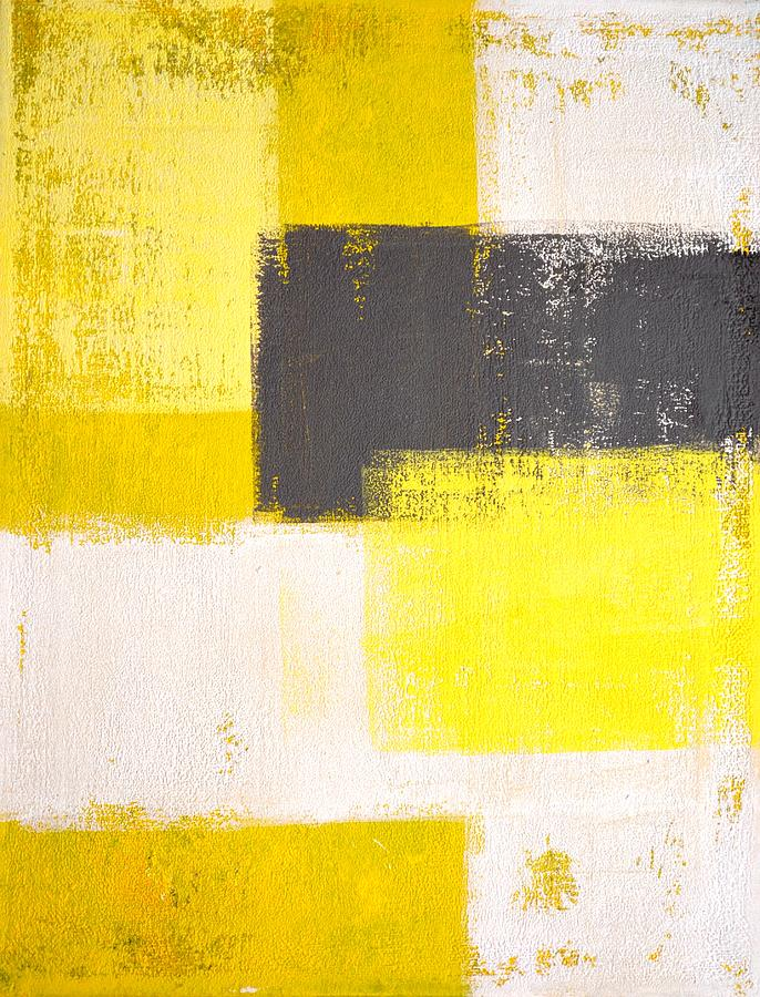 Simply modern grey and yellow abstract art painting for Yellow and gray paint