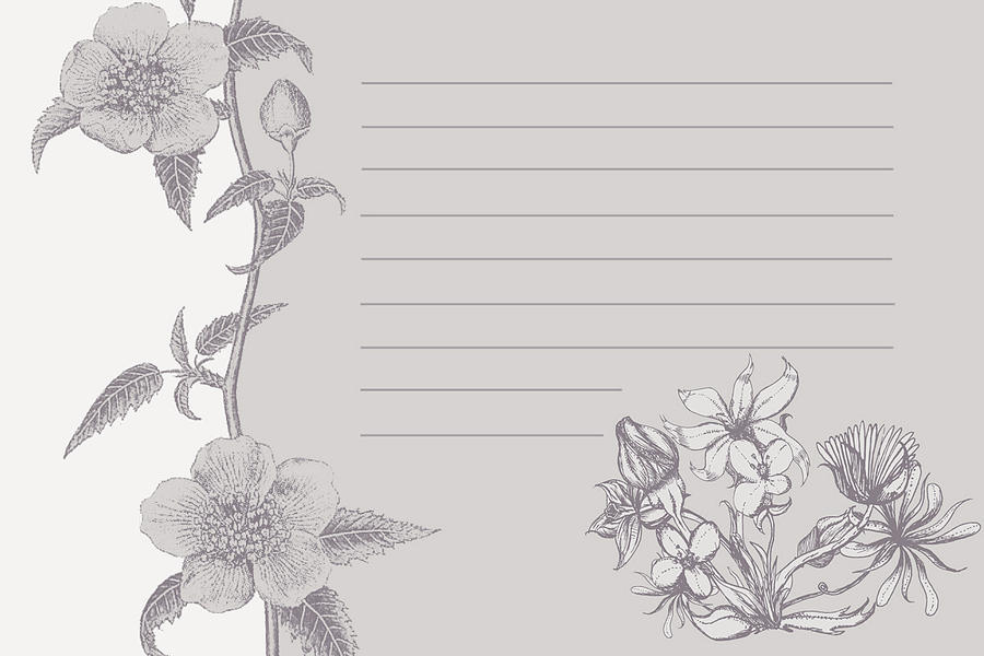 Grey Floral Card Digital Art  - Grey Floral Card Fine Art Print