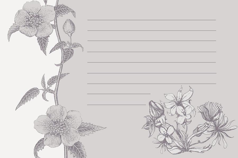 Grey Floral Card Digital Art